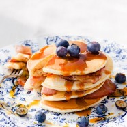 Canadian Buttermilk Pancakes with Bacon and Blueberries