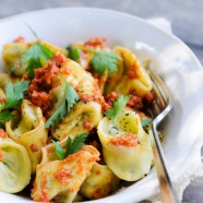 Mixed Cheese Tortellini with Red Pepper Pesto